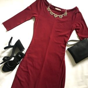 NWOT Anthropologie Weston Wear Maroon Mesh Dress